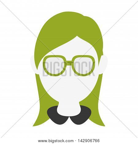 flat design faceless woman with glasses portrait icon vector illustration
