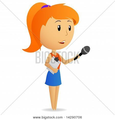 Cartoon Girl Female Reporter Holding Microphone