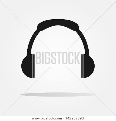 Headphones icon. Black silhouette. Isolated flat sign.
