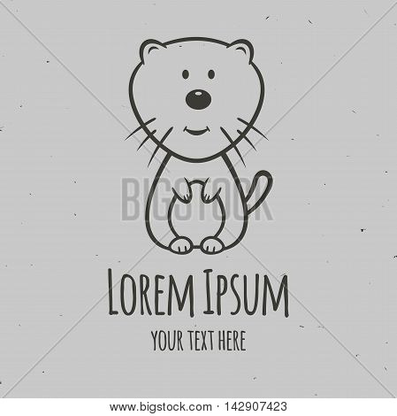 The little kitten. Logo design vector template.