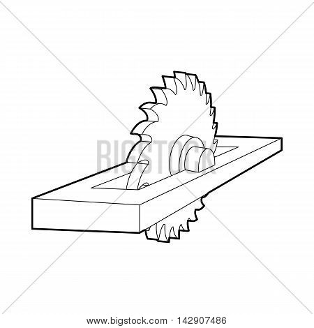 Circular saw icon in outline style isolated on white background. Tool symbol