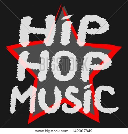 Text Hip Hop Music handwritten rough brush. The symbol of the star background. Color banner.