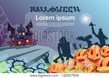Happy Halloween Banner House With Ghosts Party Invitation Card Flat Vector Illustration