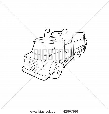Logging truck logs icon in outline style isolated on white background. Felling symbol