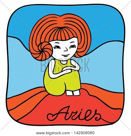 Zodiac signs Aries. Vector illustration of the girl drawn by hand in cartoon style.