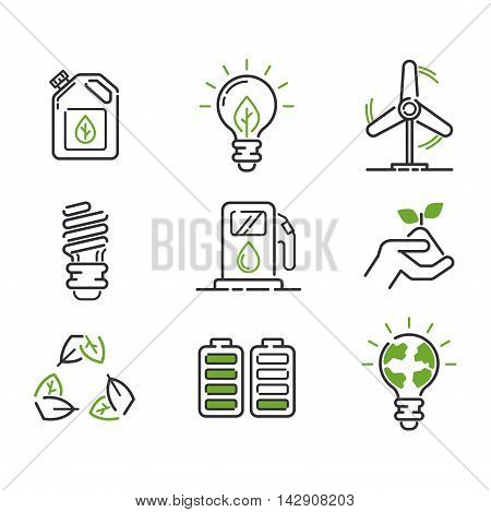 Vector green eco energy icons set. electricity water nature eco renewable industry.