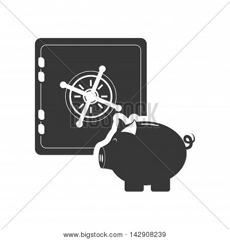 piggy strongbox money financial commerce icon. Flat and Isolated design. Vector illustration