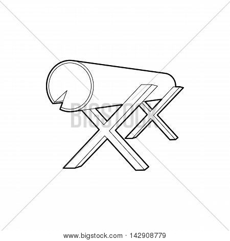 Goats for sawing logs icon in outline style isolated on white background. Felling symbol