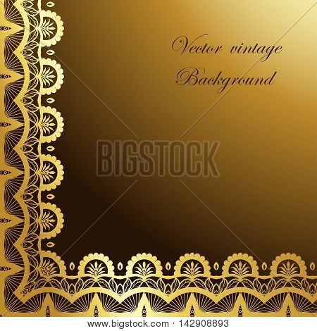 Abstract square gold lace frame with paper swirls, vector ornamental background