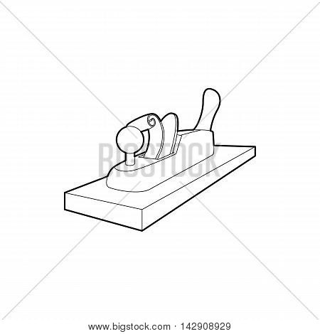 Planer on wood icon in outline style isolated on white background. Tool symbol
