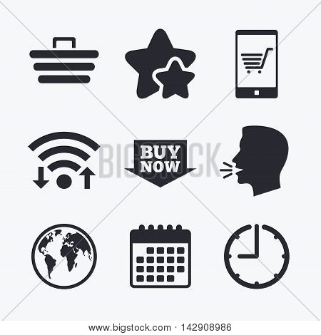 Online shopping icons. Smartphone, shopping cart, buy now arrow and internet signs. WWW globe symbol. Wifi internet, favorite stars, calendar and clock. Talking head. Vector