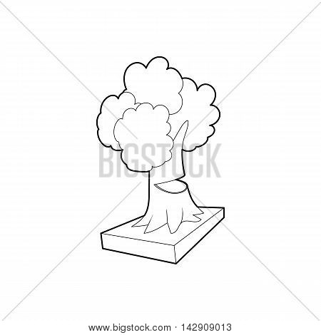 Cut tree icon in outline style isolated on white background. Felling symbol
