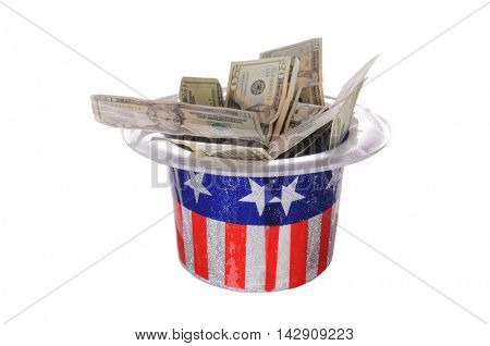 Patriotic party hat full of money