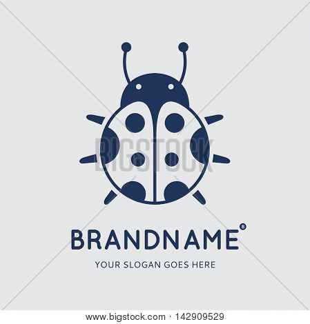 Blue ladybug on grey background. Logo design vector template. Symbol concept icon.