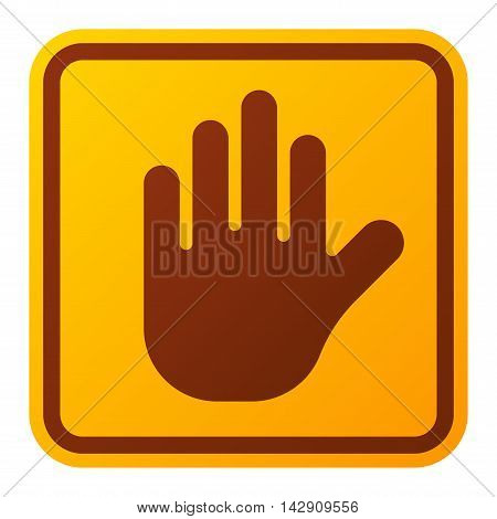 Attention stop hand icon danger button and attention warning sign. Attention security alarm symbol.
