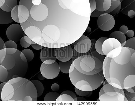 Large white semitransparent circles on a dark background.