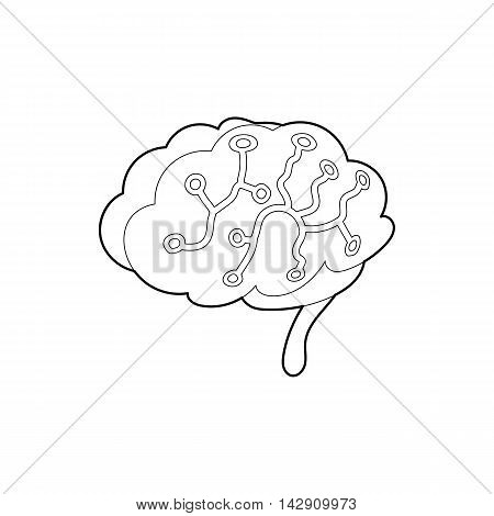 Sensors on human brain icon in outline style isolated on white background. Research symbol