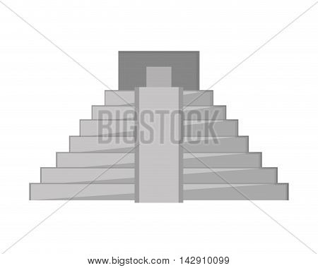 flat design mayan pyramid icon vector illustration
