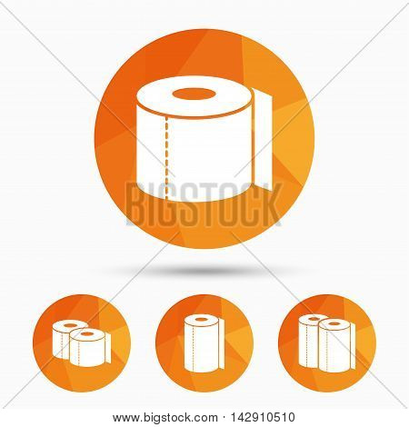 Toilet paper icons. Kitchen roll towel symbols. WC paper signs. Triangular low poly buttons with shadow. Vector