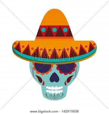 flat design mexican Sugar Skull icon vector illustration