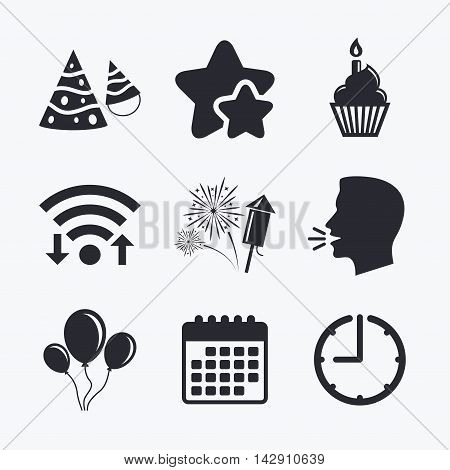 Birthday party icons. Cake, balloon, hat and muffin signs. Fireworks with rocket symbol. Cupcake with candle. Wifi internet, favorite stars, calendar and clock. Talking head. Vector