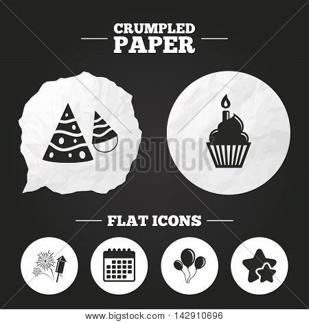 Crumpled paper speech bubble. Birthday party icons. Cake, balloon, hat and muffin signs. Fireworks with rocket symbol. Cupcake with candle. Paper button. Vector