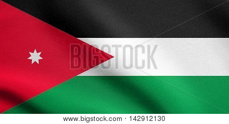 Flag of Jordan waving in the wind with detailed fabric texture. Jordan national flag.