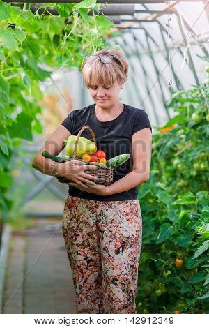 Woman holding a basket of greenery and onion in greenhouse