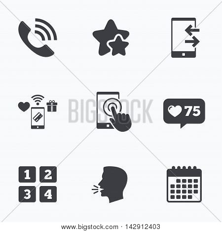 Phone icons. Touch screen smartphone sign. Call center support symbol. Cellphone keyboard symbol. Incoming and outcoming calls. Flat talking head, calendar icons. Stars, like counter icons. Vector