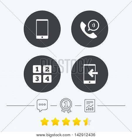 Phone icons. Smartphone incoming call sign. Call center support symbol. Cellphone keyboard symbol. Chat, award medal and report linear icons. Star vote ranking. Vector