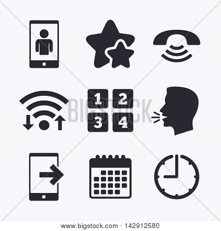 Phone icons. Smartphone video call sign. Call center support symbol. Cellphone keyboard symbol. Wifi internet, favorite stars, calendar and clock. Talking head. Vector