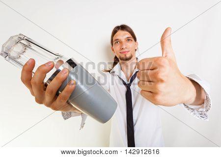 Happy Bartender Makes Gesture.