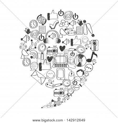 set icons social media vector illustration design