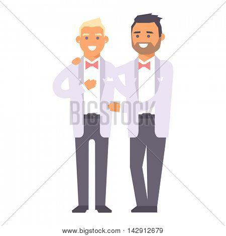 Wedding gay couples vector characters