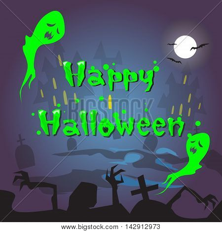 Happy Halloween Ghosts House Cemetery Graveyard Card Banner Flat Vector Illustration