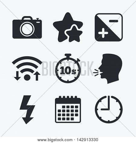 Photo camera icon. Flash light and exposure symbols. Stopwatch timer 10 seconds sign. Wifi internet, favorite stars, calendar and clock. Talking head. Vector