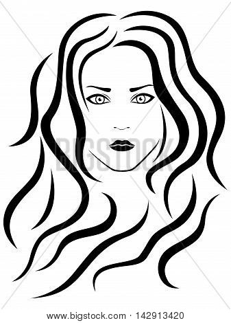 Abstract female with wavy hair vector black outline