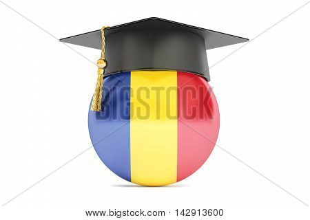 education and study in Romania concept 3D rendering isolated on white background