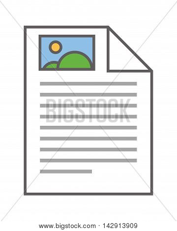 flat design paper document with image icon vector illustration