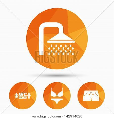 Swimming pool icons. Shower water drops and swimwear symbols. WC Toilet sign. Trunks and women underwear. Triangular low poly buttons with shadow. Vector