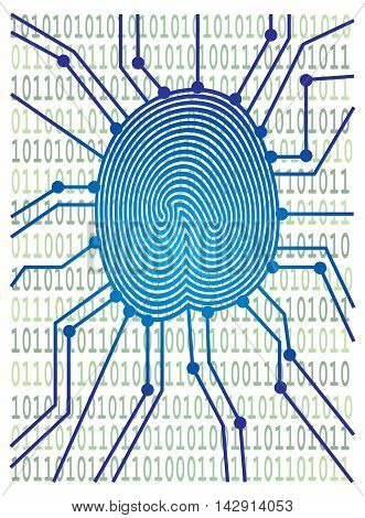 Thumbprint with Circuit Board Computer Binary Code for authentication identification color illustration