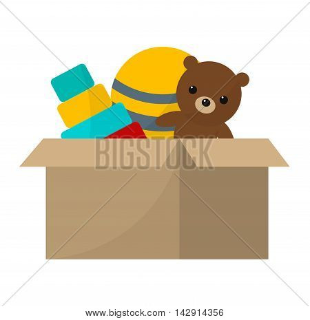 Toys collection isolated on white background. Play adorable animal brown bear collection toys. Colorful teddy toys rubber gift ball vector illustration. Preschool gifts playground concept.