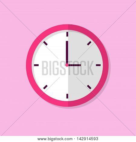 Clock Icon Color Flat Design Vector Illustration