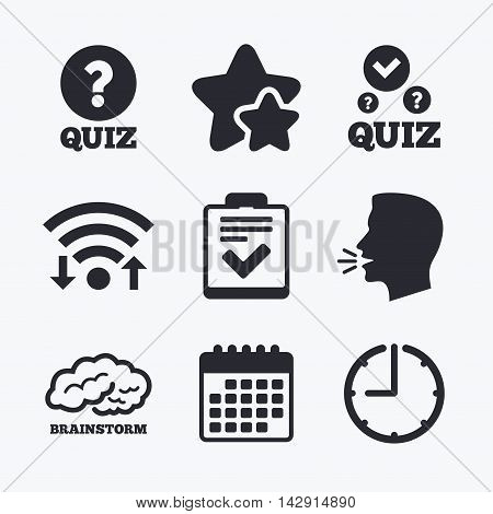 Quiz icons. Human brain think. Checklist with check mark symbol. Survey poll or questionnaire feedback form sign. Wifi internet, favorite stars, calendar and clock. Talking head. Vector