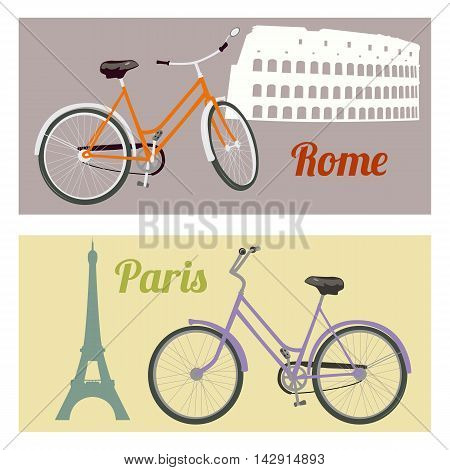 Riding a bicycle in the city. Rome and Paris. Travel concept. Vector illustration.