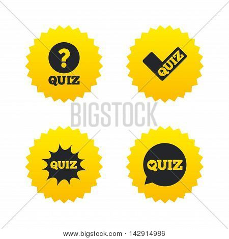 Quiz icons. Speech bubble with check mark symbol. Explosion boom sign. Yellow stars labels with flat icons. Vector