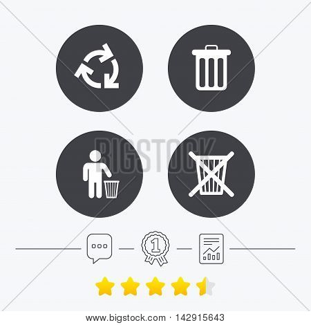 Recycle bin icons. Reuse or reduce symbols. Human throw in trash can. Recycling signs. Chat, award medal and report linear icons. Star vote ranking. Vector