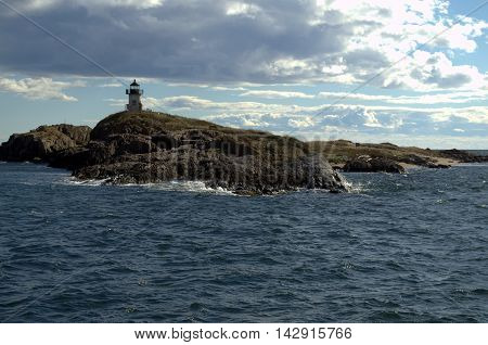 Pond Island Lighthouse.  Maine USA.  View from the harbor.