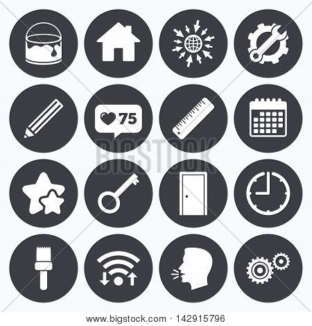 Calendar, wifi and clock symbols. Like counter, stars symbols. Repair, construction icons. Service, key and door signs. Painting, brush and pencil symbols. Talking head, go to web symbols. Vector