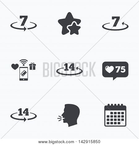 Return of goods within 7 or 14 days icons. Warranty 2 weeks exchange symbols. Flat talking head, calendar icons. Stars, like counter icons. Vector